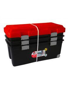 3 boîtes de rangement plastique 75L noir et orange - SUNDIS