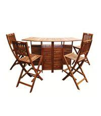 Chaise de bar pliante 100% bois d'acacia finiton huilée