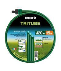 Arroseur souple Tritube vert 15 m avec raccords - TECHNO