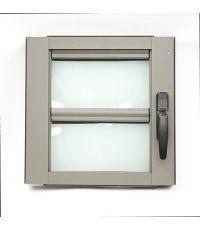 Fenêtre à jalousie aluminium L.400 x H.400 mm. Coloris gris désert.