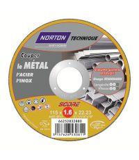Disques de tronçonnage ultra fin Métal/Inox 115x1,6x22,2mm - NORTON