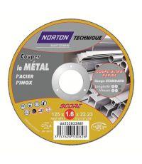 Disques de tronçonnage ultra fin Métal/Inox 125x1,6x22,2mm - NORTON