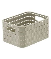 Panier 2 l  décor rotin country A6 taupe