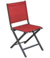 Chaise de jardin pliante alu + toile Thema gris/rouge - PROLOISIRS