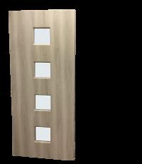 Porte d'intérieure seule coulissante Kubic l.83 x H.204 x ép.4 cm. Verre clair