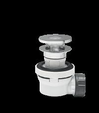 Ensemble bonde + siphon XS Pure gain de place, à écoulement libre pour lavabo ou vasque sans trop-plein - WIRQUIN
