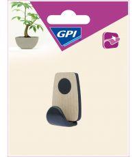 crochet bi-matière adhésif rond petit modèle bois clair et noir - GPI
