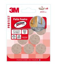 Patin feutre Scotchguard rond Ø22mm - 3M