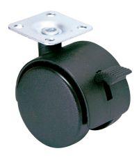 Roulette d'ameublement à platine pivotante à frein - Charge admissible 25kg.  Ø40mm - CIME