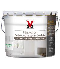 Peinture de Rénovation Séjour – Chambre – Couloir - 10 L Blanc Satin - V33