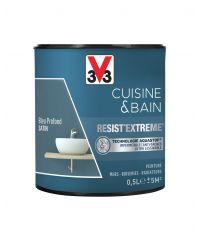 Peinture Cuisine & Bain Résist'Extrême bleu profond satinée 0,5 L - V33