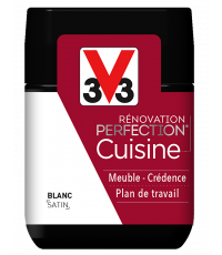 Peinture rénovation cuisine Perfection blanc satin testeur 75ml - V33
