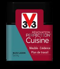Peinture rénovation cuisine Perfection bleu lagon satin testeur 75ml - V33