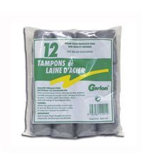 Sachet de 12 Tampons de laine d'acier -  GERLON