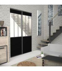Pack de portes de placard atelier miroir noir 1200x2500 - EKIPA