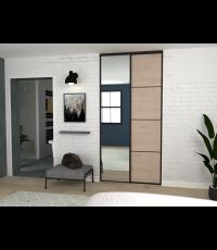 Pack de portes de placard liseret miroir chene jackson et noir 1200x2500 - EKIPA