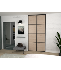 Pack de portes de placard liseret chene jackson et noir 1200x2500 - EKIPA