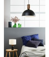 Lampe métal noir mat/bronze portland