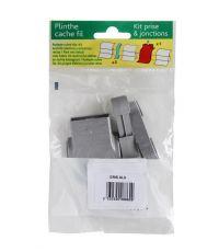 Kit 1 sortie prise + 2 raccords plinthe gris alu - SPTD