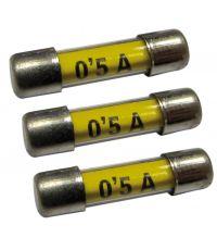 3 fusibles verre 5x20mm 0,5a. - TIBELEC