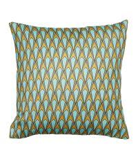 Housse de coussin carrée 100% polyester 'Wax' turquoise et dorée - OSTARIA