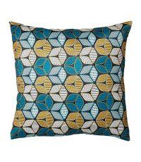 Housse de coussin carrée 100% polyester 'Wax' fleurs bleues - OSTARIA