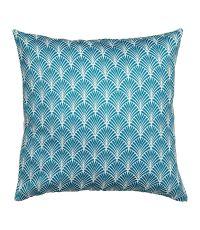Housse de coussin carrée 100% polyester 'Eventail' bleu et blanche - OSTARIA