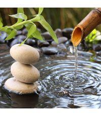 Toile 45x45 eau bambou galets