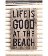 Toile Message Life is good at the beach 30x45cm