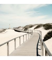 Toile Chemin de plage vers le phare 30x30cm