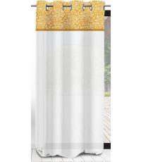 Voilage blanc Vintage moutarde 135 x 250 cm