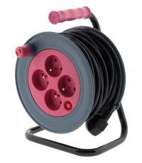 Enrouleur ménager compact 15m rose 3G1MM² - ZENITECH