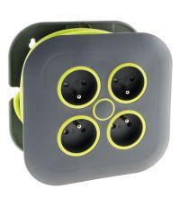 Enrouleur domestique 4 prises 2P+T 16a + coupe-circuit - gris/vert - ZENITECH