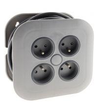 Enrouleur domestique 4 prises 2P+T 16a + coupe-circuit - gris - ZENITECH