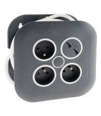 Enrouleur domestique design 3 prises + 2 USB câble 3x1mm² 7m - ZENITECH