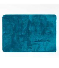 Tapis rectangle 120 x 170 cm flanelle Flanou bleu - DECOR10