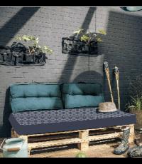 Matelas palette réversible en coton gris 120 x 50 x 15 cm