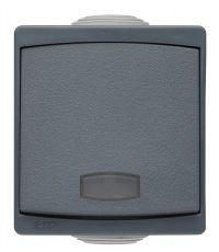 Appareillage étanche IP65 en saillie bouton poussoir avec voyant gris gamme Sub-line