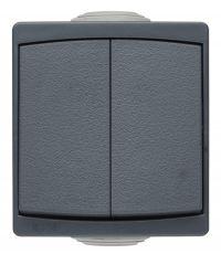 Appareillage étanche IP65 en saillie double interrupteur / va et vient gris gamme Sub-line