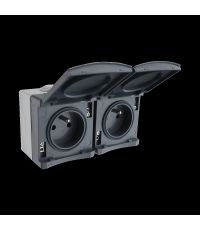 Appareillage étanche IP65 en saillie double prises 2P+T 16 ampères gris gamme Sub-line - INVENTIV