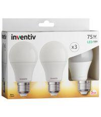 Pack 3 ampoules LED standard E27 ton chaud 1055lm 11W 2700K - INVENTIV