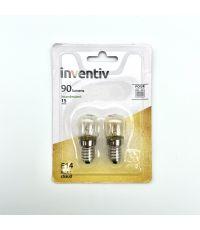 Lot de 2 ampoules four e14 90 Lumens 2800 Kelvins dimmable - INVENTIV