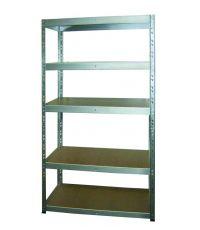 Etagère rangement bois/métal galva 5 tablettes 179x75x35cm - INVENTIV
