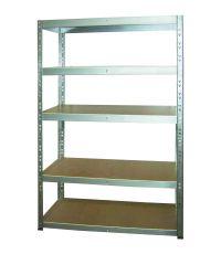 Etagère rangement bois/métal galva 5 tablettes 179X150X50cm - INVENTIV