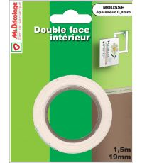 Adhésif moquette double face usage intérieur blanc 1,5mx19mm - B RESIST