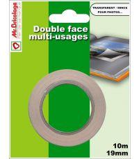 Adhésif moquette double face multi-usages transparent 10mx19mm - B RESIST