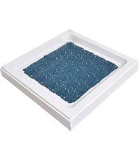 Fond de douche pvc 50x50cm bulles - bleu canard - TENDANCE