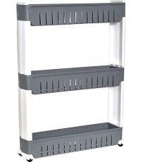 Meuble de rangement pp 3 niveaux sur roulettes - blanc/gris - TENDANCE