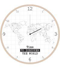 Horloge carte du monde en bois