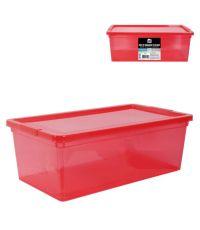 Boîte de rangement en plastique rouge 6L